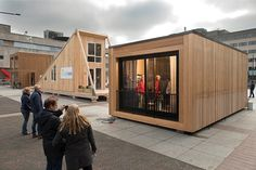 The Netherlands held a competition to design new refugee housing. These are the winners. Temporary Architecture, Architecture Student, Architecture Design, Shelter Design, Wood Cladding, Refugee Crisis, Container House Design, Up House, Eco Friendly House