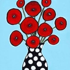red poppies and aqua background