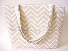 Gray and Tan Chevron Diaper Bag - Handmade Diaper Bag - Baby Shower Gift - Baby Accessories - Diaper Tote Bag - Quilted Cotton Diaper Bag by SewSouthwest on Etsy