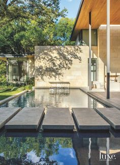 the infinity-edge pool helps cool the covered patio, allowing breezes to circulate off the water and through an opening in the roof.