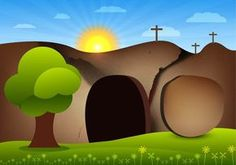 Vector empty tomb with sun rise and cave Jesus Tomb Pictures, Easter Images Clip Art, Libros Pop-up, Empty Tomb, Bible Images, Art Images, Religion, Easter Story, Bible Illustrations