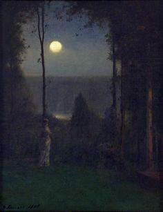 George Inness, Moonlight, oil on canvas Weisman Art Museum, University of Minnesota.perhaps a close up of the moon section? Weisman Art Museum, Hudson River School, Illustration Art, Illustrations, Art Graphique, Moon Art, American Artists, Moonlight, Landscape Paintings
