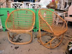 pair of rattan lounge chairs-set of 4 around fire pit if ok in the elements