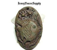 1 Fish Pendant Bead, Carved Stone, Natural Stone, Semi precious Stone, Gemstone Bead, Focal Bead, 46x30x10mm Ribbon Jasper by IvoryTowerSupply on Etsy