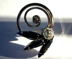 On Sale Vintage Black Smoke Marquis Rhinestone Silver Brooch Earring Set (58.50 USD) by RockySpringsVintage
