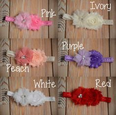 YOU CHOOSE! Newborn Headbands, Baby Girl Headband, Baby Shower Gift, Flower Headbands, Photo Props, Chiffon Flower Headbands, Rose Headbands