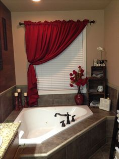 Corner tub storage for master bathroom