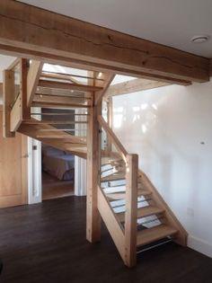 Roderick James Architects - oak and glass stair by Carpenter Oak Ltd