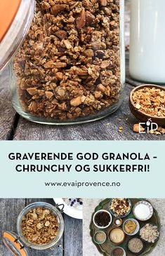 GRAVERENDE GOD GRANOLA – CHRUNCHY OG SØT UTEN SUKKER Granola, Cereal, Food And Drink, Vegetables, Breakfast, Morning Coffee, Vegetable Recipes, Muesli, Breakfast Cereal