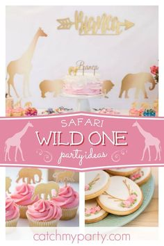 Take a look at this aforable pink wild one birthday party! The table setting… - Modernes First Birthday Theme Girl, 1st Birthday Party For Girls, First Birthday Party Themes, Safari Birthday Party, Birthday Ideas, 2nd Birthday, Paris Birthday, Jungle Party, Pink