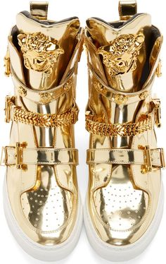 Versace Gold High-Top Studded Strap Medusa Sneakers