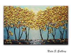Turquoise Landscape Painting Original Fall Tree Artwork