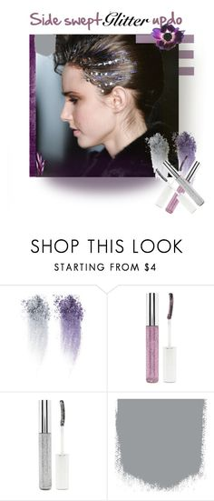 """""""Side swept Glitter Updo"""" by lubinesse ❤ liked on Polyvore featuring beauty, Paul Frank, Forever 21, hairstyle, newtrend, updo, purpleglitter and glitterhair"""