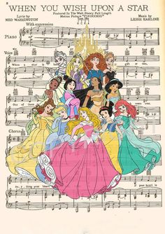 Disney Princesses Art Print by AmourPrints on Etsy