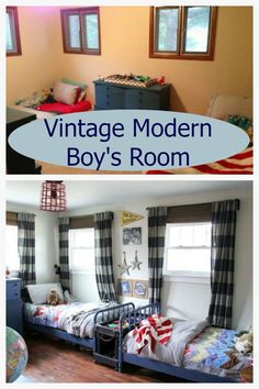 """This vintage Modern Boys Room is inspired by classic patterns, pops of bright red, and vintage furniture. It is decorated with many vintage finds, while still being a practical room for two young boys."""