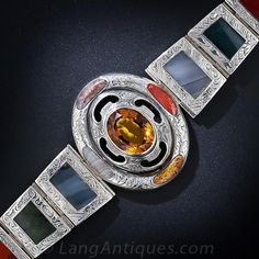 Antique Silver Scottish Agate and Citrine Bracelet from Lan=ngs