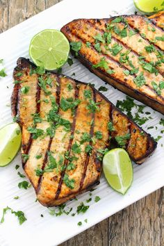 cilantro lime grilled swordfish Enjoy these top-rated grilled fish recipes outdoors this summer. Recipes include gingered honey salmon, tilapia piccata and even grilled fish tacos. Fish Dishes, Seafood Dishes, Fish And Seafood, Seafood Recipes, Dinner Recipes, Grilled Fish Recipes, Grilling Recipes, Cooking Recipes, Healthy Recipes