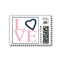 Love Postage Pink And Navy Blue Wedding Stamps