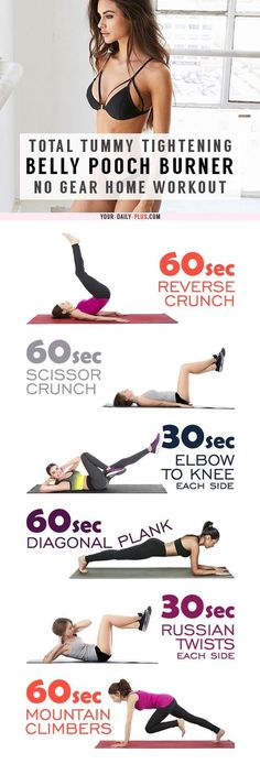 Belly Fat Burner Workout - This killer tummy-cinching routine works magic on muffin tops and that soft belly pooch and will leave your tummy tight and toned in two weeks! Fitness Workouts, Lower Ab Workouts, Easy Workouts, At Home Workouts, Ab Exercises, Abdominal Exercises, Stomach Tightening Exercises, Exercise Workouts, Excercise