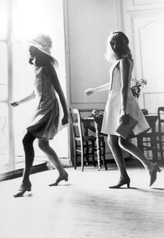 "Ms. Catherine Deneuve and her sister, Ms. Francoise Dorleac dancing while filming the 1967 Jacques Demy film ""The Young Girls of Roche..."