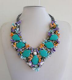 Statement necklace, Stunning necklaces, Strass necklace, Eva necklace, Big Necklace, Collar necklace with Swarovski strass IV223 by IvMiro on Etsy
