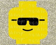 Cool Sunglasses Lego Head Layered Cutting File / Clipart in Svg, Eps, Dxf, Png, and Jpeg Format for Cricut and Silhouette