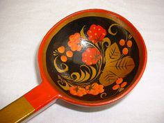 Painted wooden ladle lacquer serving spoon Russian by DebsDelightz, £4.95