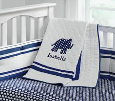 Harper with Elephant Appliqué Nursery Bedding | Pottery Barn Kids
