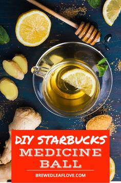 This copycat Starbucks medicine ball tea recipe tastes just like the real thing but you can make it at home.  Find out the secret ingredients that make this cold busting drink a favorite. Starbucks Drink Menu, Hot Tea Recipes, Tea Organization, Honey Lemonade, Mint Tea, Tea Gifts, Medicine Ball, Fruit Drinks, How To Make Tea