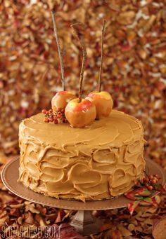 Caramel Apple #Cake with Salted Caramel Buttercream recipe - topped with beautiful #Caramel Apples!