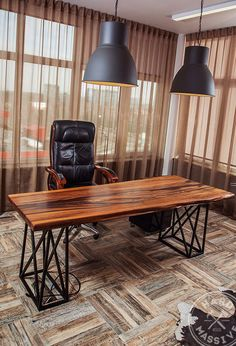 Modern table for the office from a slab of wood Chinar. Handmade table in Eco style. Beautiful natural wood with a live edge. Age of a tree - 500 years! Legs - Metal. #tableofficewood