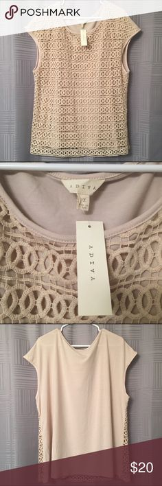 Creme Crochet Detail Shirt Brand new with tags. Beautiful feminine Crochet Detail. Size 1X fits XL (Size 14-16) Outer is Cotton, inner is polyester. Adiva Tops Blouses