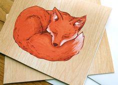 Greeting cards sleepy fox card от michiscribbles на Etsy
