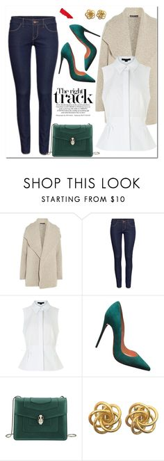 """""""Emerald"""" by christinacastro830 ❤ liked on Polyvore featuring James Perse, H&M, Alexander Wang, Christian Louboutin, Bulgari and Lipstick Queen"""