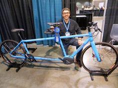 Custom built tandem e-bike with Gates belt drive. Looks cool ! Touring Bicycles, Tandem Bicycle, Push Bikes, Bike Trailer, Bike News, Balance Bike, Kids Bike, Cycling Art, Cool Bicycles