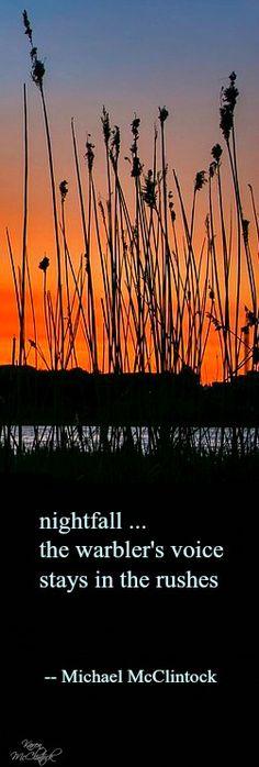 Haiku poem: nightfall -- by Michael McClintock.
