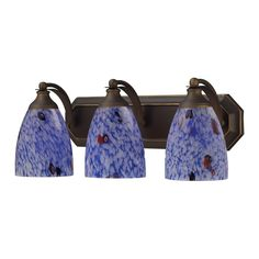 Bath And Spa 3 Light Vanity In Aged Bronze And Starburst Blue Glass 570-3B-BL