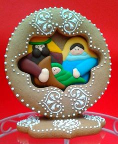 3D Gingerbread Christmas Nativity Cutout decorated cookie--inspired by Julia Usher | Cookie Connection  #cookieart
