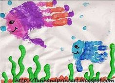 Mom an kid handprint fish I could do dad and kid handprint fish for my mother in law!