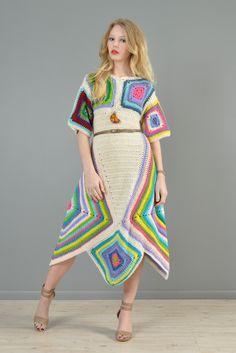 Rainbow Hand Crochet Scarf Hem Midi Dress   BUSTOWN MODERN