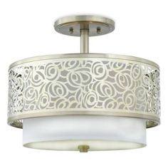 Layered Josslyn Abstract Rose Ceiling Fixture with Semi-Flush Mount and White Silk Fabric Shade - BedBathandBeyond.com