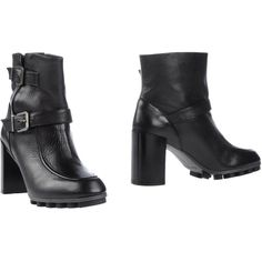 Robert Clergerie Ankle Boots ($304) ❤ liked on Polyvore featuring shoes, boots, ankle booties, black, buckle booties, robert clergerie boots, buckle ankle boots, wooden heel booties and round toe ankle boots