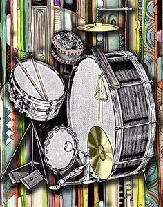 "Drum Kit - 11"" x 14"" archival print"