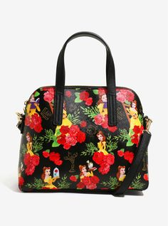 """Feel like taking your favorite books with you? This bag will let you do that and more! This dome shaped satchel from<i>Disney's Beauty and the Beast</i>features an allover Belle themed floral print design. Details include a detachable shoulder strap, interior zip & pouch pockets and a zip closure.<br><ul><li style=""""list-style-position: inside !important; list-style-type: disc !important;"""">Polyurethane&..."""