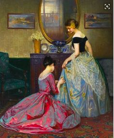 Preparing For The Ball, 1900 Artwork By Viktor Schramm Oil Painting & Art Prints On Canvas For Sale Renaissance Kunst, Art Amour, Illustration Art, Illustrations, Classical Art, Fine Art, Beautiful Paintings, Oeuvre D'art, Oeuvres