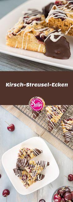 Saftige und knusprige Kirsch-Streusel-Ecken, die nach Belieben auch mit anderem Obst zubereiteten werden können.
