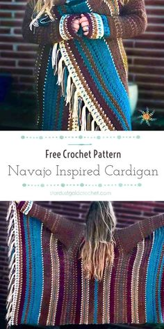 Navajo Blanket Cardigan - an easy crochet pattern for beginners. Beginner blanket cardigan by Stardust Gold Crochet. Gilet Crochet, Crochet Coat, Crochet Cardigan Pattern, Crochet Jacket, Easy Crochet Patterns, Crochet Shawl, Crochet Clothes, Knitting Patterns, Crochet Sweaters