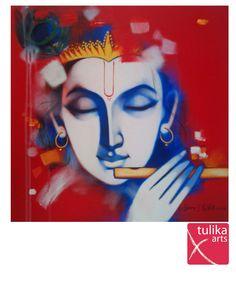 Krishna - by Vijay Gille tulika art gallery. Shiva Art, Krishna Art, Hindu Art, Shree Krishna, Krishna Drawing, Krishna Painting, Lord Krishna Images, Radha Krishna Pictures, Krishna Flute