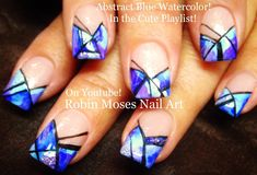 Abstract Blue Watercolor Nails!! #nailart #nails #nail #art #howto #fall #diy #design #tutorial #simple #easy #watercolor #blue #abstract #trendynails #fall2015 #diy