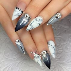 Grey and White Marble Nail Art Design